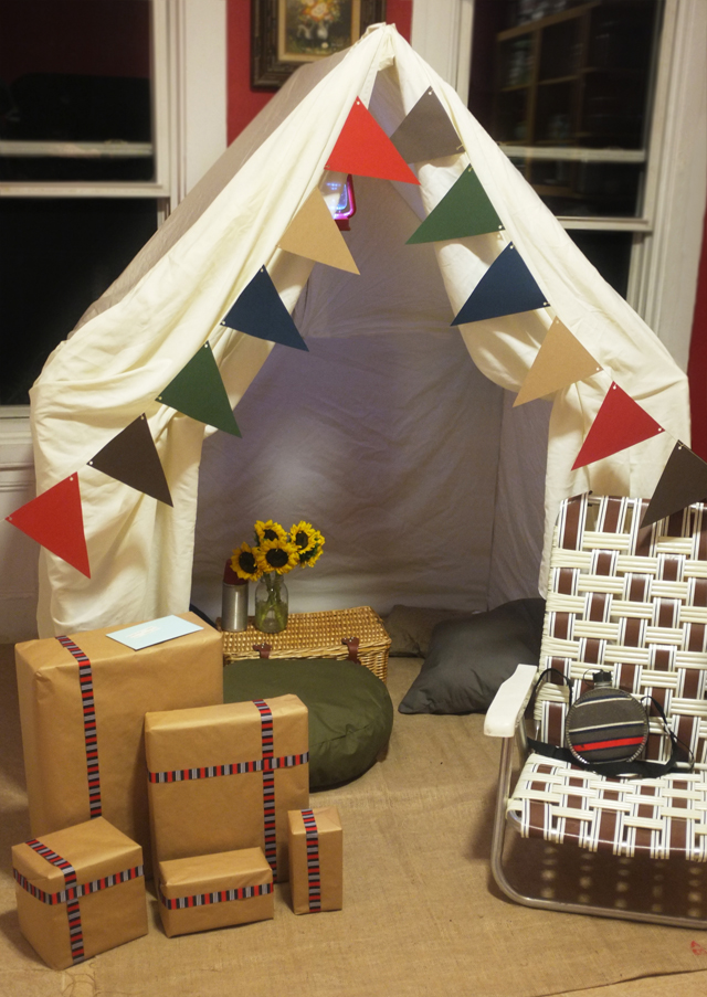 Camping Birthday Setup