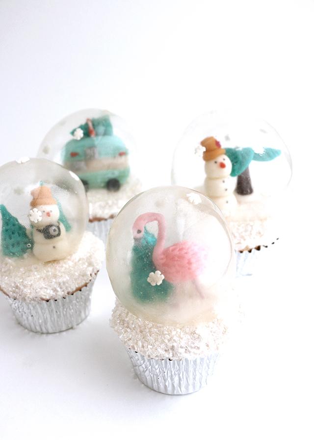 Gelatin Snow Globe Cupcakes