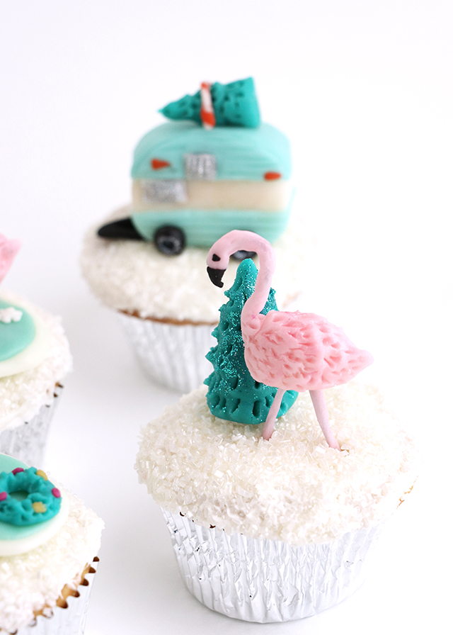Holiday Flamingo Cupcake Topper