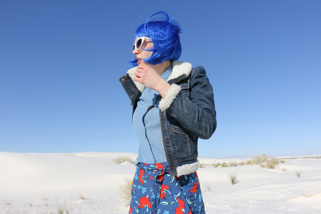 Blue Wig in White Sands
